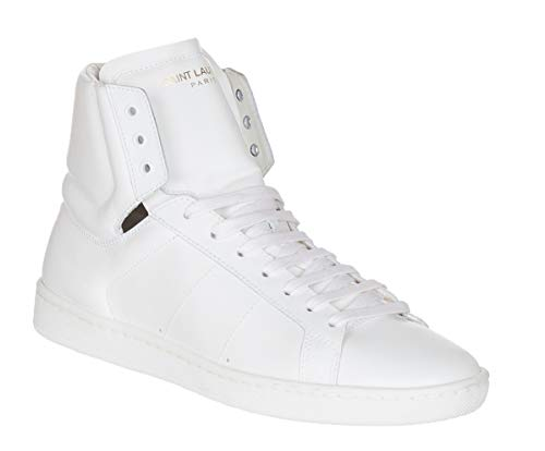 Saint Laurent Women's White Leather High Top Sneakers Shoes, White, 10 (Yves St Laurent Shoes)