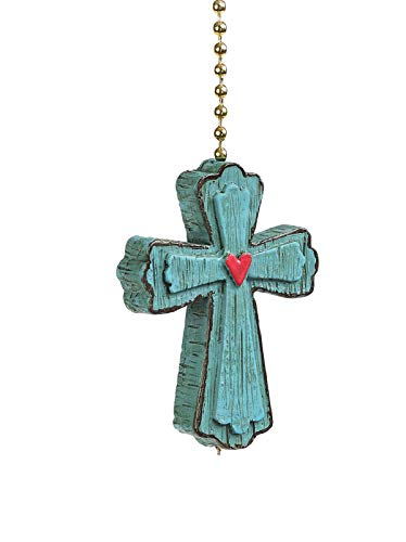 Clementine Designs Joyful Cross Ceiling Fan Light Dimensional Pull Resin Blue
