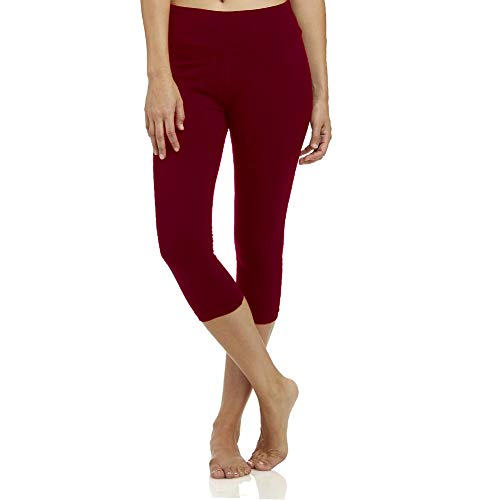 - High Waisted Soft Capri Leggings for Women-Tummy Control and Elastic Opaque Slim-One/Plus Size 20+Design Burgundy