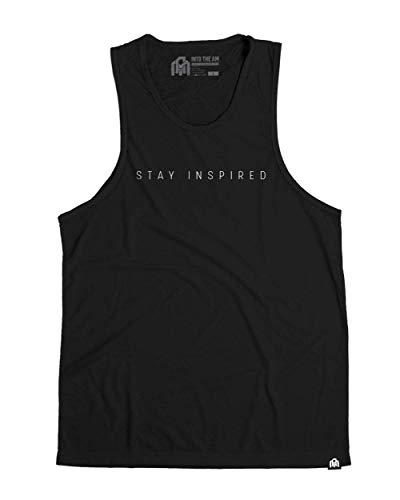 INTO THE AM Stay Inspired Men's Graphic Tank Top (Black, Small) (Best Tank Top Designs)