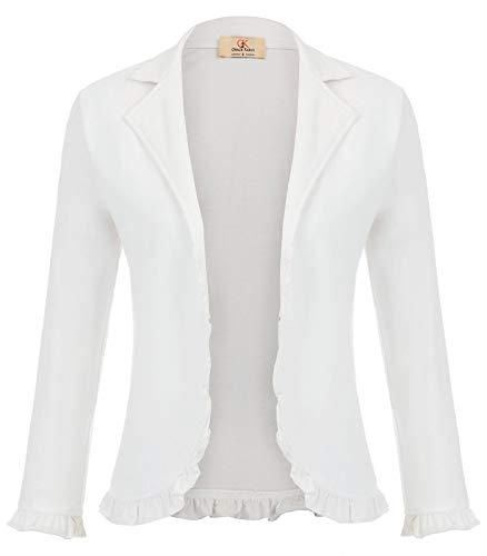 - Women Casual Business Suit Blazer Jacket 3/4 Sleeve Open Front Cardigan White L