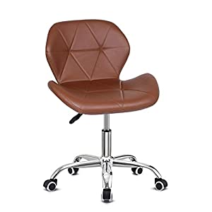 EUCO Office Chair,Brown PU Leather Desk Chair for Home Adjustable Height Swivel Chair Comfy Padded Computer Chair,Home…