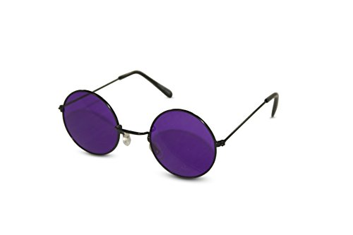 John Lennon Sunglasses Round Hippie Shades Retro Colored Lenses Retro Party (Black frame w/ Purple - Shades Lennon