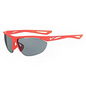 NIKE EV0916-600 Tailwind Swift Frame Grey with Silver Flash Lens Sunglasses, Matte Bright Crimson/White