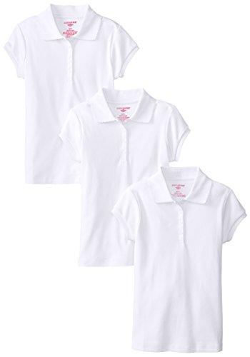 Dockers Little Girls' Uniform 3 Pack Short Sleeve Polo Bundle, White, X-Large/6X by Dockers