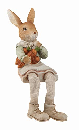 Transpac Resin Brown Easter Traditional Bunny Farmer Shelf Sitter