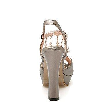 LvYuan Mujer-Tacón Robusto-Talón Descubierto Zapatos del club-Sandalias-Vestido Informal Fiesta y Noche-Semicuero-Rojo Blanco Gris gray