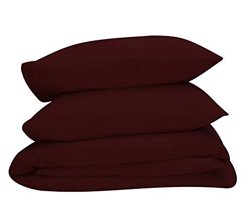 Best Hotel Luxury Bedding 3-Piece Full/Queen Red Wine Duvet Cover Set, 400 TC 100% Long-Staple Combed Cotton Soft, Silky & Breathable Duvet Cover Set, Perfect Cover for your Down ()