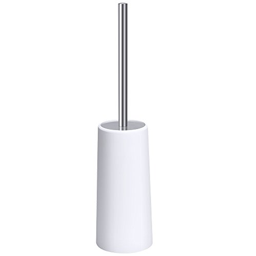 E-Gtong Toilet Brush and Holder, Modern Design Longer Brush with Sturdy Holder, Stainless Steel Handle and Lid, Two Replaced Brushes for Bathroom Toilet by E-Gtong