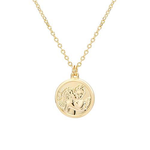 AUSIKA Dainty Medallion Cherub Pendant Necklace for Women 18k Gold Plated Chain Handmade Jewelry 18''