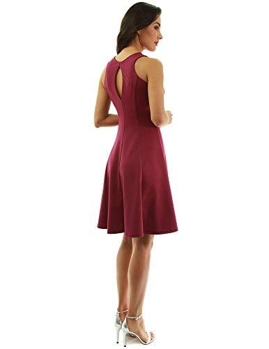PattyBoutik Women Keyhole Back Sleeveless A-Line Sheath Dress (Magenta X-Small) ()