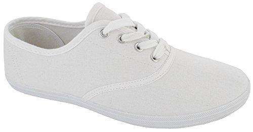 Chaussures Plates à Lacets Pour Femmes Filles Baskets en Toile Taille - Blanc, EU 37