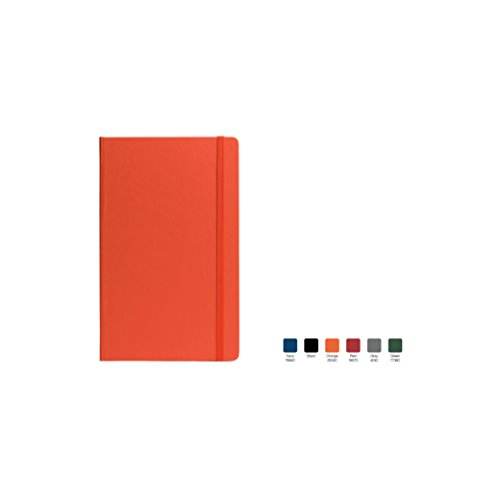 TECHNO Ruled, Hardcover Executive Notebook Journal with Premium Paper, 192 Lined Pages, Includes book mark ribbon, Elastic closure, Orange Cover, Size 5.75