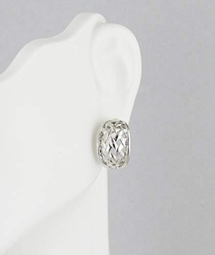 Wide Basketweave (Silver basketweave pattern half hoop huggie stud post dangle earrings 9/16 tall)
