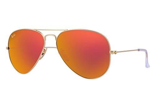 Ray-Ban RB3025 Aviator Sunglasses (58 mm, Gold Metal Frame/Orange Flash - Bans Ray Orange Frame