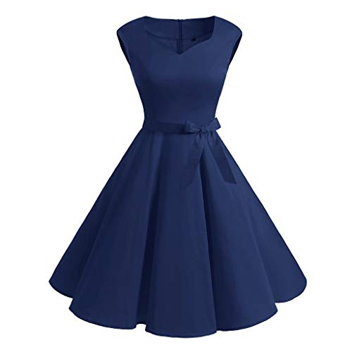 Opeer Hot Popular! Women Hepburn 1950s Vintage Sleeveless Dr
