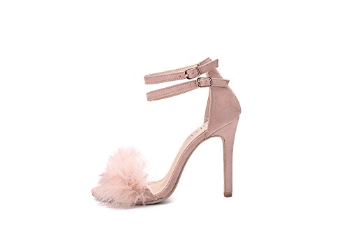 Lady Pink Stiletto Mila Ankle Sandal Toe Heeled Feather Lady Strap Sexy Open EILEEN18 x6RgxqwH