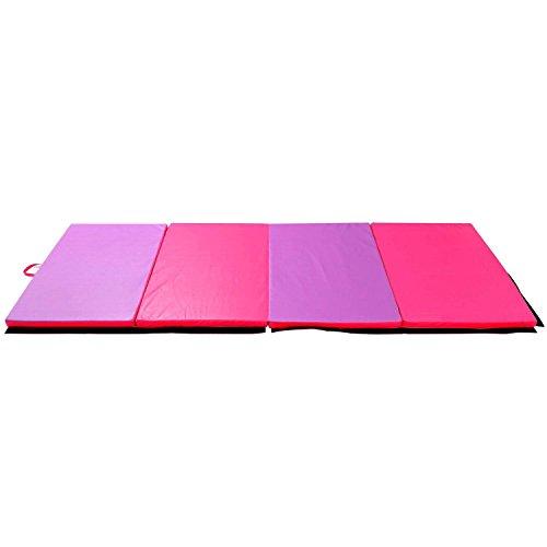 "HYD-PARTS Gymnastic Mats, 4'x6'x2"" Anti Slip Mats Yoga Fitness Training,Sporting Floor Pads,Children Playing Climbing (Rose-red&Purple)"