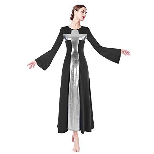 Womens Praise Robe Dance Cross Dress Long Bell Sleeve Liturgical Loose Fit Full Length Swing Worship Gown Skirt Costume Black+Sliver M