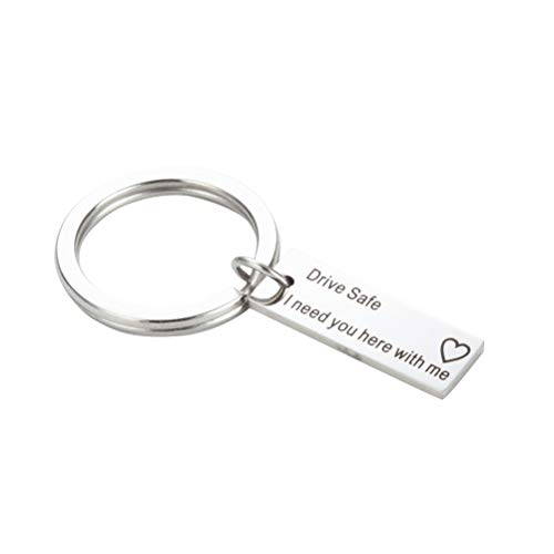 VORCOOL Drive Safe Keychain Car Keyring Metal Cool Circle Purse Bag Pendant Decoration (Drive Safe I Need You here with me)