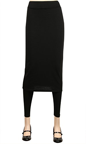 (ililily Long Knee Length Skirt with Full length Slim Stretch Active Leggings(leggings-263-1-3XL))