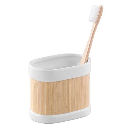 mDesign Soporte para cepillo de dientes en madera y cerámica – Práctico porta cepillos- El