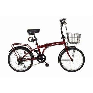 折りたたみ自転車 【シマノ製6段ギア 20インチ】 クラシックレッド ワイヤーロック LEDライト カゴ付き 『Classic Mimugo』【代引不可】   B07PDC5NNR