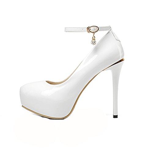 sólido uretano bombas zapatos plataforma redonda strap adjustable de Ladola para mujer Blanco punta q4ZUUX