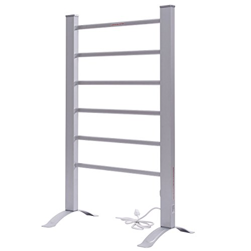Portable Mirror Polished Aluminum Electric Towel Rail Rack Warmer Heated 2 in 1 Design w/ Built In Thermostat by FDInspiration