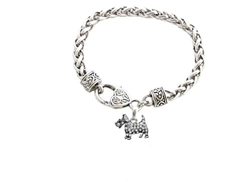 (Scottish Terrier Scottie Breed Silver Clear Crystal Charm Bracelet Jewelry Gift)