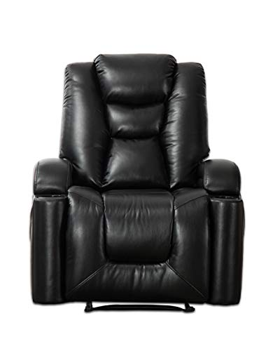 CANMOV Electric Power Recliner Living Room Chair, Breathable Bonded Leather, Classic and Traditional Single Seat Sofa Manual Recliner Chair with Cup Holders and USB Port