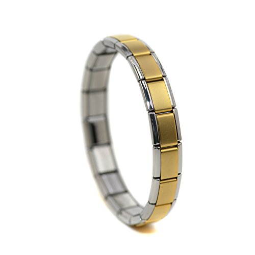Dolceoro Satin Gold Face Starter Italian Charm 18 Links Modular Bracelet