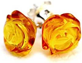 925 Sterling Silver Stud Amber Earrings Rose with Genuine Natural Baltic Amber