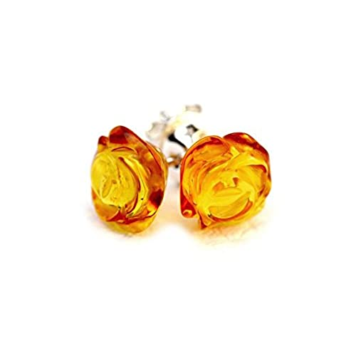 Multicolor Amber Sterling Silver Fashion Charming Stud Earrings YXn2v5rCh