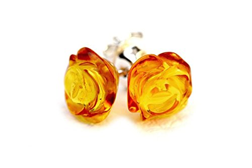 Amber Stone Jewelry - 925 Sterling Silver Stud Earrings Rose with Honey Genuine Natural Baltic Amber