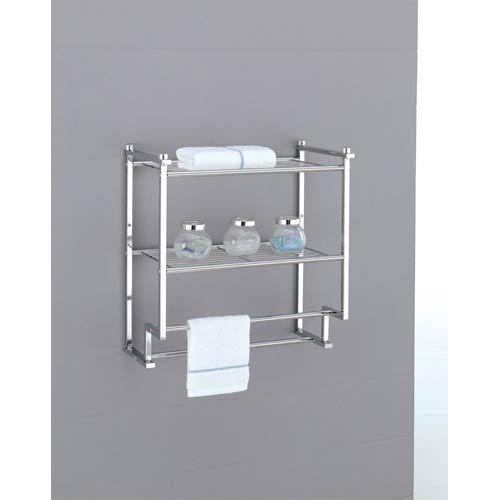 Organize It All Chrome 2 Tier Wall Mounting Bathroom Rack with Towel (Neu Home Wall)