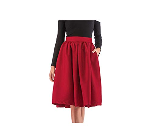 CHRISTY M Spring Summer Double Pockets and Pleat High Waist Knee Length Multicolor Casual Female Skirts,Red,XXL