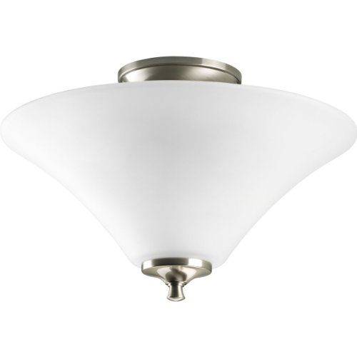 - Progress Lighting P3855-09 2-Light Semi-Flush with Modern Trumpet Glass Shades in A Soft Etched Finish, Brushed Nickel