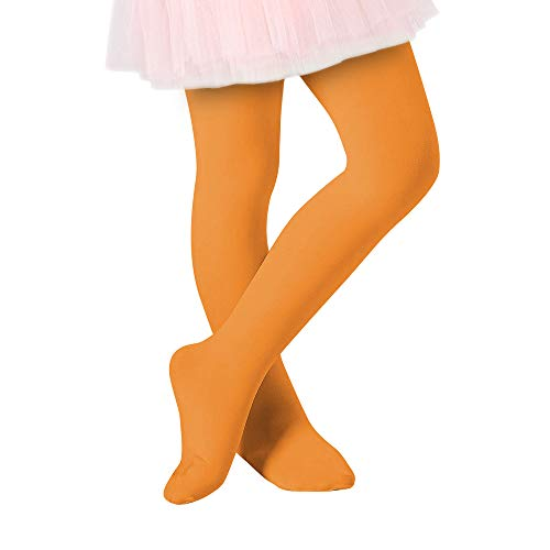 Century Star Ultra-Soft Footed Dance Sockings Ballet Tights Kids Super Elasticity School Uniform Tights For Girls Orange Small (27.56