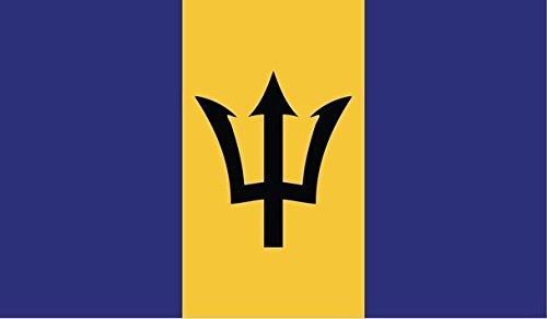 Barbados Flag Decal Sticker Bajan Barbadian Car Window Bumper 5-Inch by 3-Inch Premium Quality UV Resistant Laminate ()