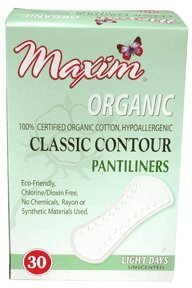 Maxim Hygiene Products 1-220530-1 Organic Cotton Classic Contour Pantiliners - Pack of 12