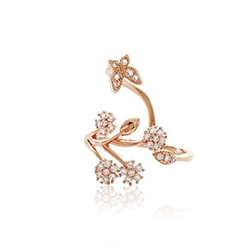 Rurah Cute Butterfly Flower Open Ring for Women Adjustable Size,Rose gold
