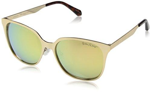 (Lilly Pulitzer Women's Landon Polarized Square Sunglasses, GOLD, 54)