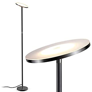 Floor Lamp, LED Floor Lamps for Living Room, Tall Torchiere Floor Lamps,Stepless Dimmable Modern Pole Reading Standing Lamp for Offices Bedroom, TECKIN Daylight Floor Lights Black