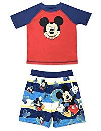 Toddler Boy Mickey Mouse 2 Piece Rash Guard and Swim Trunk Set 4T ()