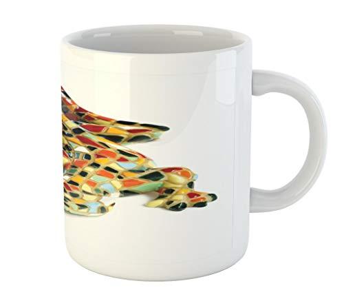 Lunarable Sculptures Mug by, Miniature Gaudi Lizard Ceramic Mosaic Inpspired Graphic Tiles Barcelona Artwork, Printed Ceramic Coffee Mug Water Tea Drinks Cup, Multicolor