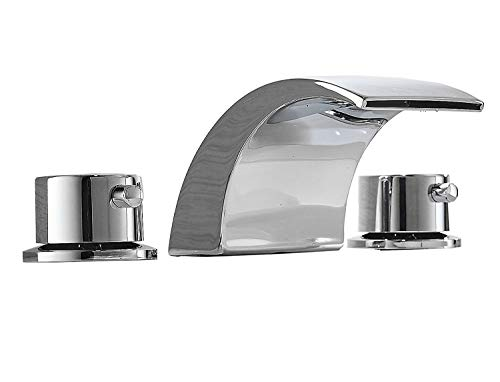 Bathfinesse Bathroom Sink Faucet LED Waterfall Two Handle Three Hole Widespread 8-16 Inch Commercial Lavatory Chrome