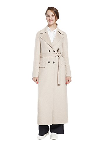 RLM Ladies Handmade Fashion Coat Woolen Double-Breasted Coat with Belt Slim Coat (12, Light Brown) by RLM