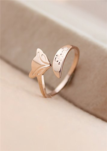unique fox color gold ring plated 18k rose gold ring steel women girls fox tail ring pinkie ring