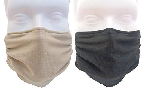 Breathe Healthy Honeycomb Face Mask - 2 Pack Deal! - Cold & Flu Face Mask - Adjustable, Washable - Sanding & Drywall. Allergy Relief (Black & Beige)